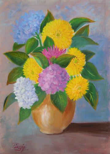 Quadro di Giuliano Piazzini Vaso di fiori - mista carta