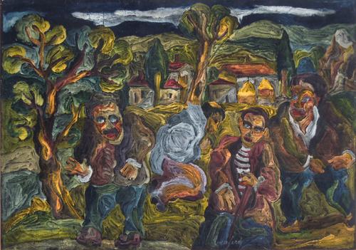 Quadro di Beppe Serafini Paesaggio con figure - olio tessuto