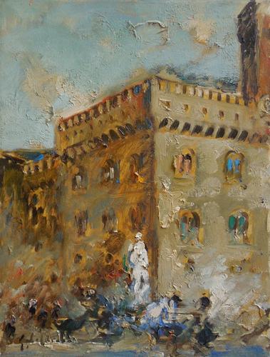 Quadro di Emanuele Cappello Piazza Signoria, Firenze, olio su tela 70 x 50 | FirenzeArt Galleria d'arte