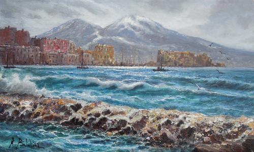 Quadro di Rossella Baldino Vesuvio innevato - olio tela