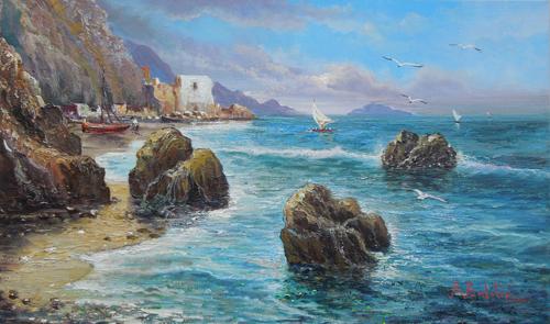 Quadro di Rossella Baldino Marina  - Napoli - olio tela