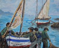 Quadro di Rossella Baldino - I pescatori olio tavola