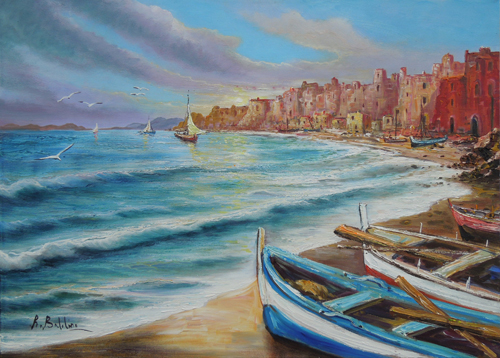 Art work by Rossella Baldino Di terra e di mare  - oil canvas