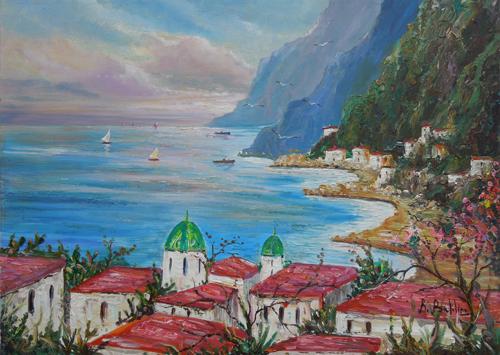 Quadro di Rossella Baldino Vietri sul mare  - olio tela