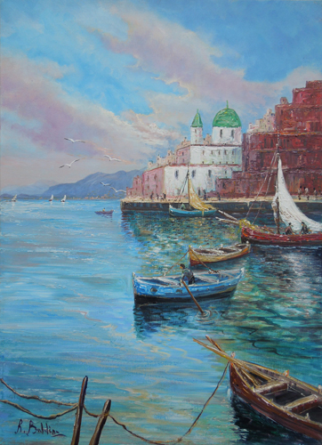 Art work by Rossella Baldino Vele e lampare - oil canvas