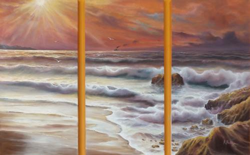 Quadro di Rossella Baldino Mediterraneo - Trittico - olio tela