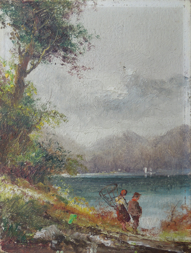 Art work by Athos Brioschi Figure sul lago - oil canvas cardboard