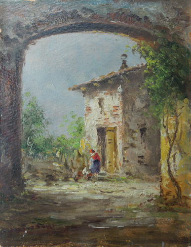 Art work by Athos Brioschi Scena rupestre - oil canvas cardboard