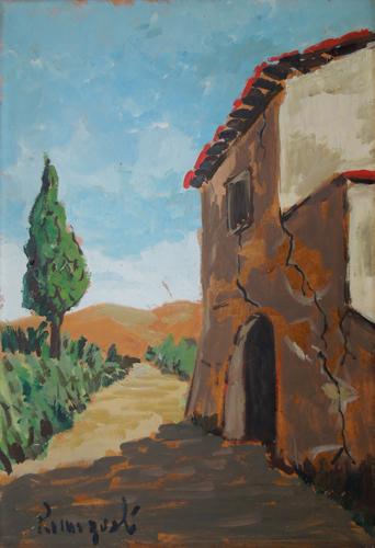Quadro di  Romagnoli Casolare sulla via - Pittori contemporanei galleria Firenze Art
