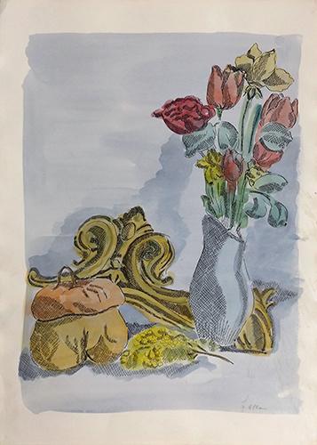 Quadro di firma Illeggibile Vaso di fiori - acquerello carta