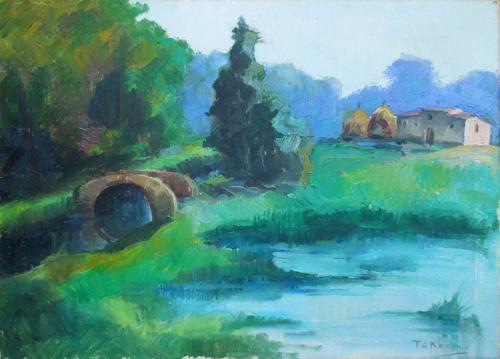Quadro di Angelo Tardelli Paesaggio verde - olio tela