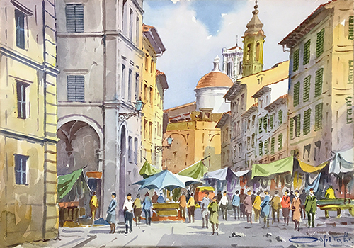 Art work by Giovanni Ospitali Mercato fiorentino - watercolor table