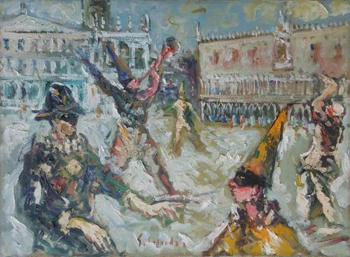 Quadro di Emanuele Cappello Maschere a Venezia  - Pittori contemporanei galleria Firenze Art