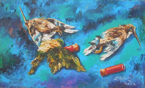 Quadro di  Zimarelli (da Trieste) Caccia - olio tavola