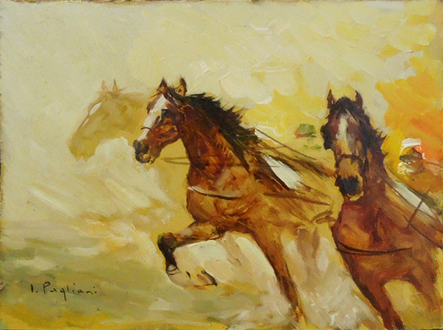 Art work by Inigio Pagliani Cavalli al galoppo - oil hardboard