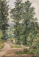 Quadro di  Antiquariato - Paesaggio con figure acquerello carta