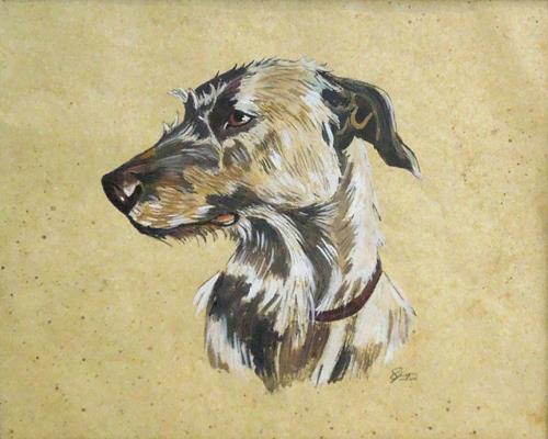 Quadro di firma Illeggibile Muso di cane - mista cartone