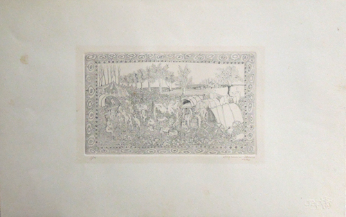 Art work by Marica Magnanini Circo in libertà - lithography paper