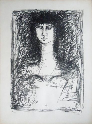 Quadro di  Righi Figura di donna  - litografia carta