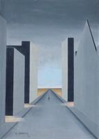 Quadro di G. Carretti - Paesaggio onirico olio cartone