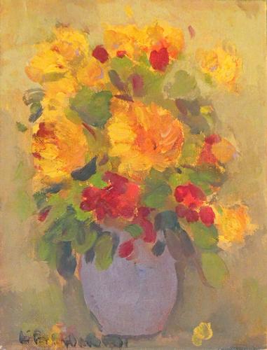 Quadro di firma Illeggibile Vaso con fiori - olio cartone telato