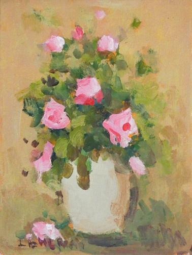 Quadro di firma Illeggibile Vaso con rose  - olio cartone telato