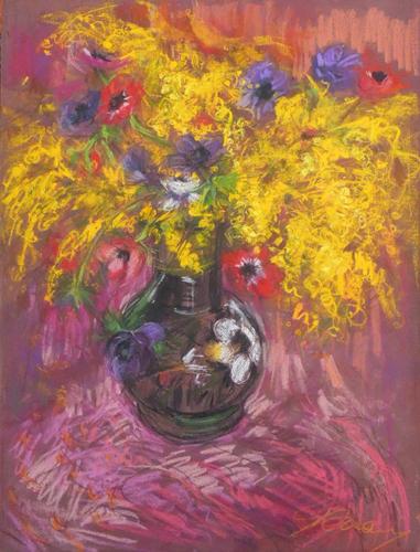 Quadro di Giorgio Verzani Mimosa e anemoni - pastello carta