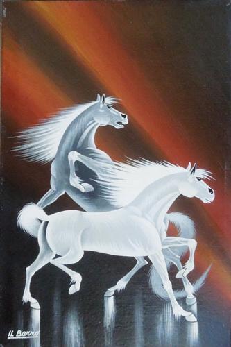 Quadro di  Il Barro Vita e Furia - cavalli - olio tela