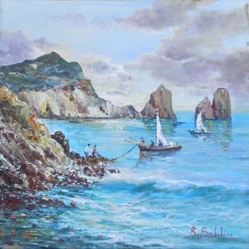Quadro di Rossella Baldino Onde e faraglioni - olio tela