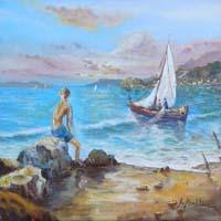 Quadro di Rossella Baldino - Figura e vela olio tela