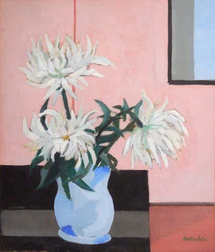 Quadro di Anna Maria Bartolini Il vaso dei fiori bianchi - olio compensato