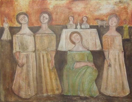 Quadro di (Franco Rivola) Rowlia La pianura non è più deserta un brulicar di vita la riempie - Pittori contemporanei galleria Firenze Art