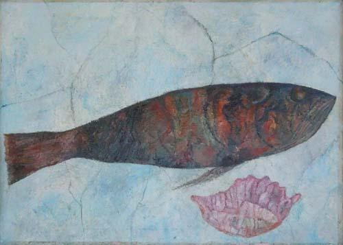 Quadro di firma Illeggibile Pesce - olio tela