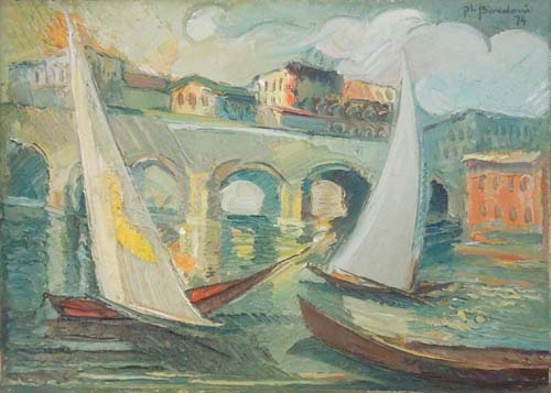 Art work by P. L. Bordoni  Marina e vele  - oil canvas