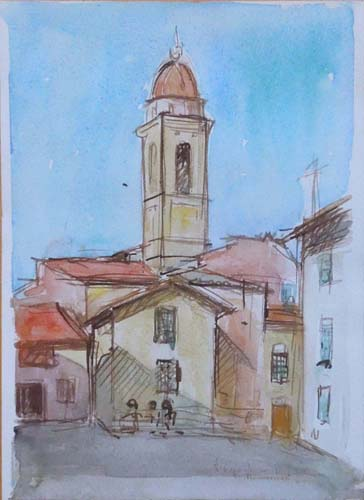 Art work by firma Illeggibile Campanile  - watercolor paper