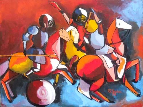Quadro di Alfio Vecchio Duello a tre - olio tela
