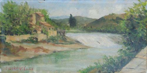 Quadro di Paolo Baroncelli L'Arno a Rovezzano - olio tela