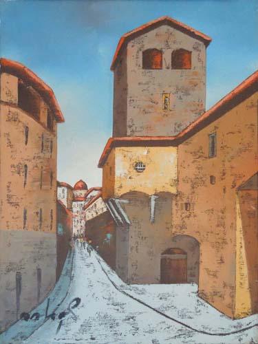Quadro di Augusto Ostigli Torre dei Mannelli - olio tela