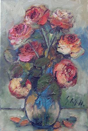 Quadro di Emanuele Cappello Vaso con rose - olio tela
