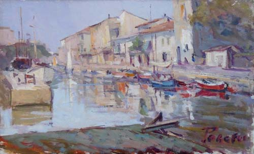 Art work by Mario Poggesi Al porto - oil canvas