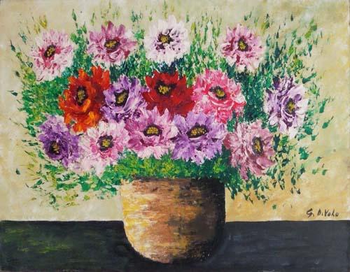 Quadro di Giorgio Di Volo Cesto di fiori - olio faesite