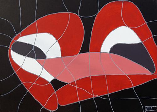 Quadro di Fulvio Bresciani Il bacio - acrilico tela