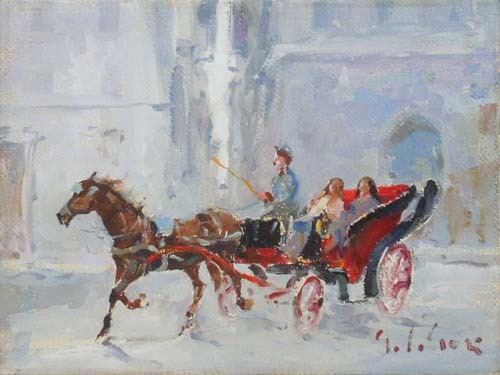 Quadro di Gino Paolo Gori Amiche in carrozza  - Pittori contemporanei galleria Firenze Art