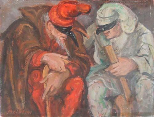 Quadro di M. Bandini Maschere - olio cartone