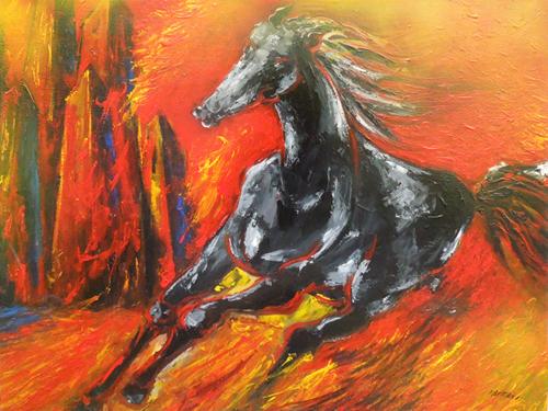 Quadro di Mauro Capitani Il cavallo di Troia - olio tela