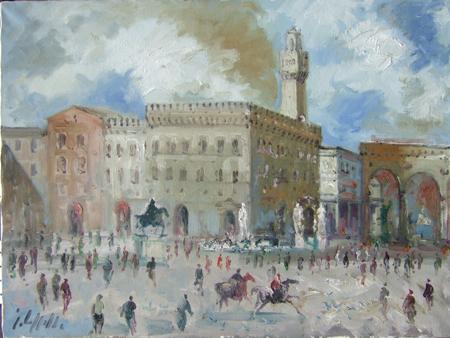 Quadro di Emanuele Cappello Piazza della Signoria - olio tela