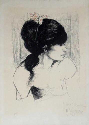 Quadro di Fausto Maria Liberatore Figura di donna  - litografia carta