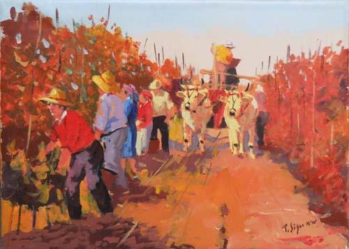 Quadro di Tristano Signorini Lavoro nei campi - olio tela
