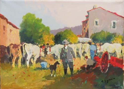 Quadro di Tristano Signorini Scena rurale - olio tela