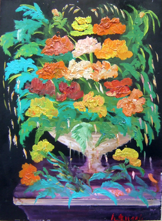 Quadro di  Lepori Vaso di fiori - olio faesite